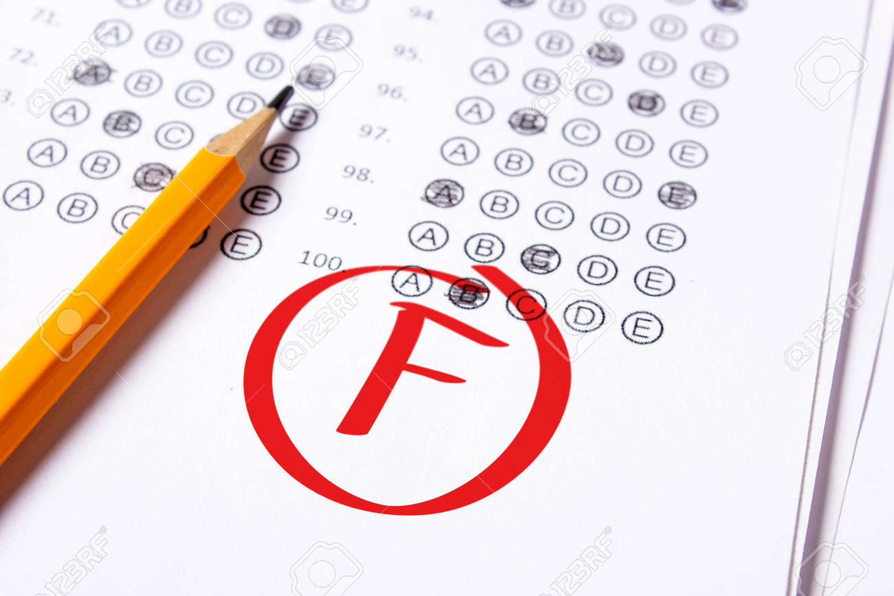 Bad Grade F Is Written With Red Pen On The Tests Stock Photo 110891535