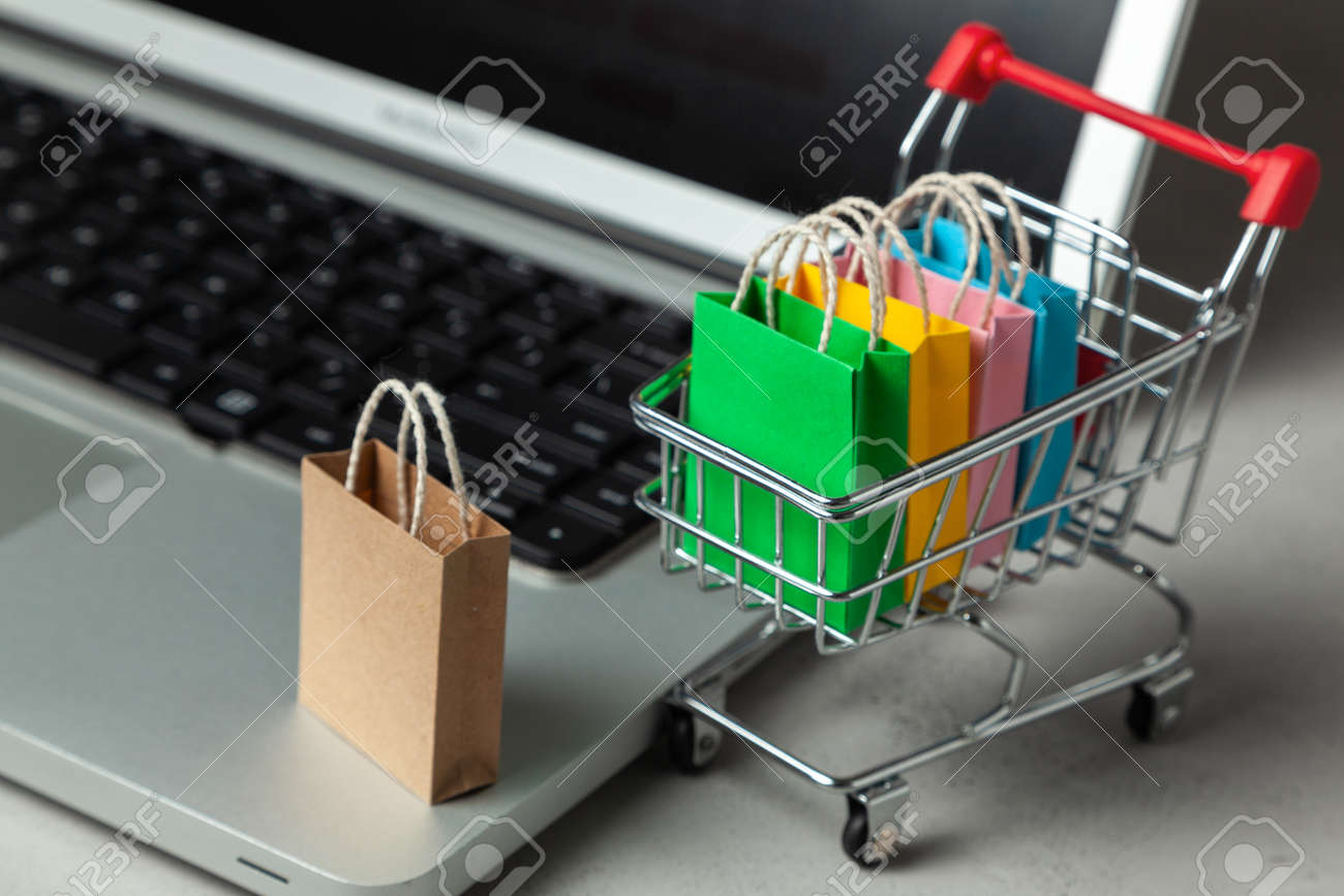 689dbe47 Buying goods and clothing in the online store. Shopping bags in shopping  cart on laptop