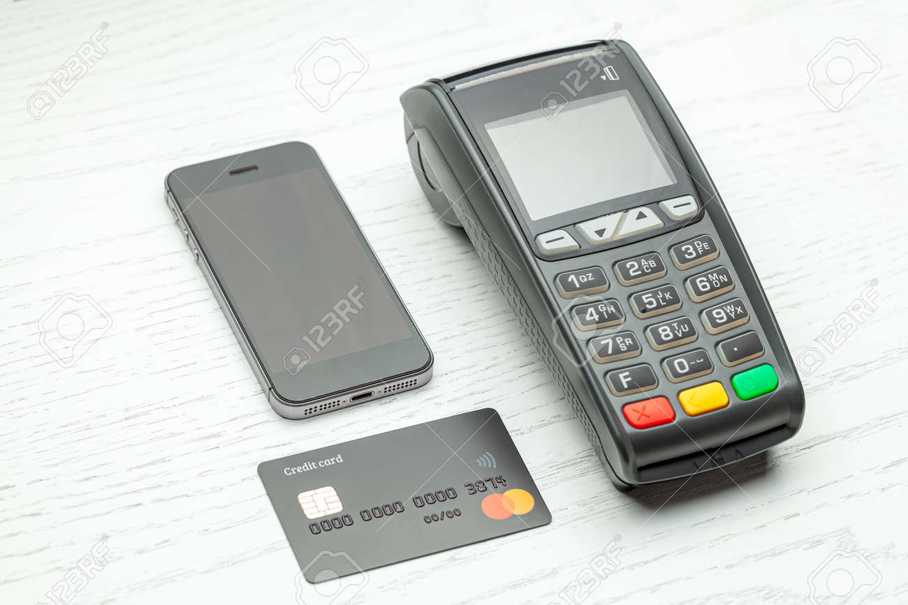 Contactless Payment By Credit Card And Smartphone Phone  POS