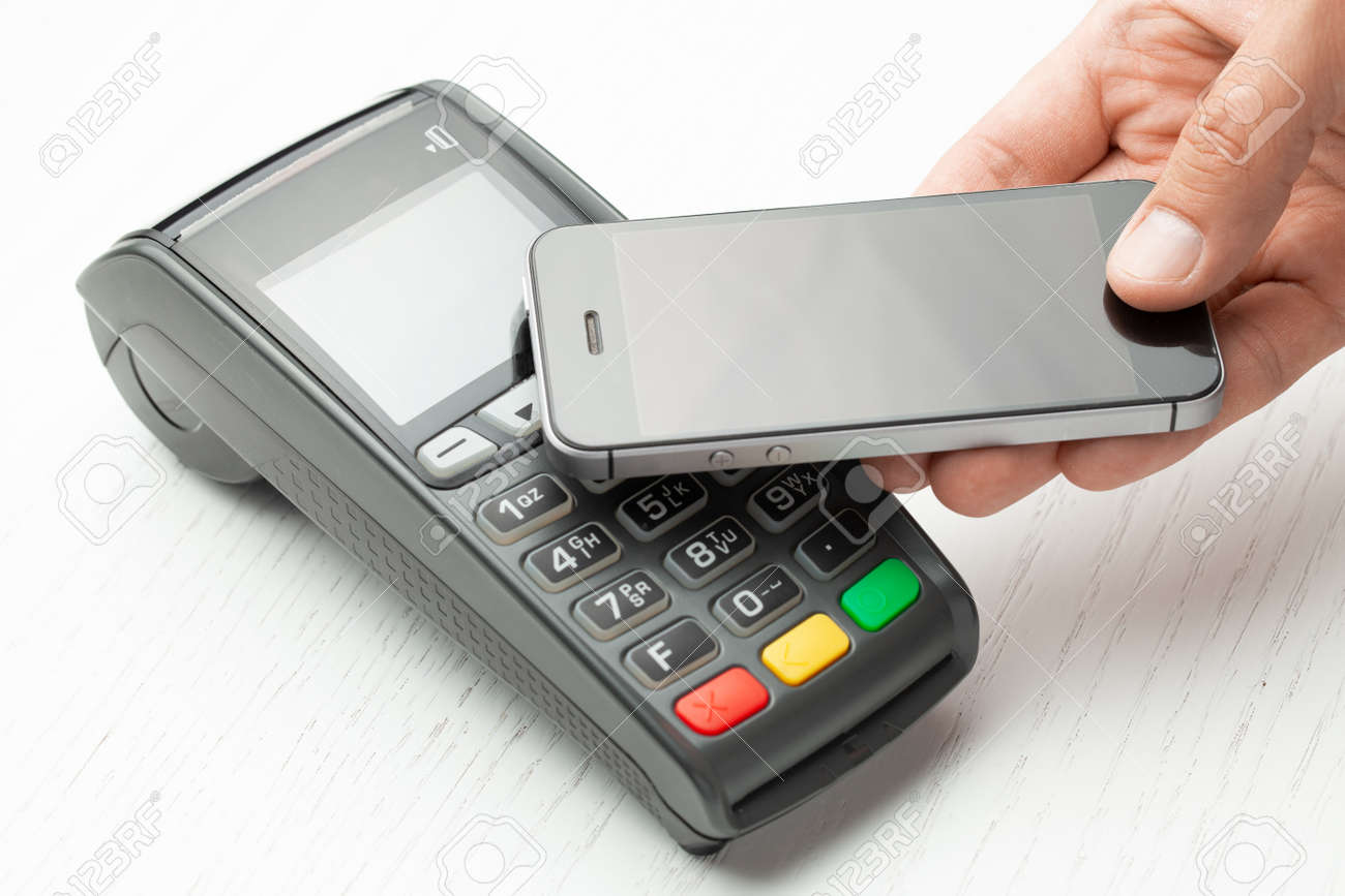 Contactless payment by smartphone phone  POS terminal NFC payment