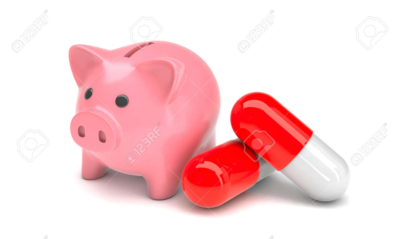 Pink piggy bank and pills in capsules on a white background. Savings concept for treatment. 3d render - 170983102