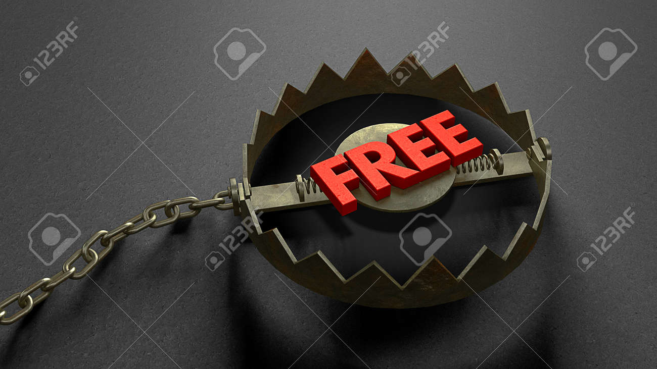 Trap with a FREE red word shape bait. The concept of cheating the buyer and attracting attention. 3d render - 170983103