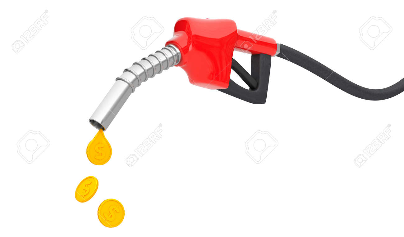 Fuel pump with a drop of gold coins. The concept of an expensive fuel price. isolated on white background. 3d render - 170879369