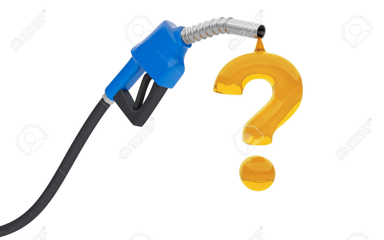 Fuel pump with a drop in the shape of a question mark. Concept of how to choose fuel. isolated on white background. 3d render - 170879235