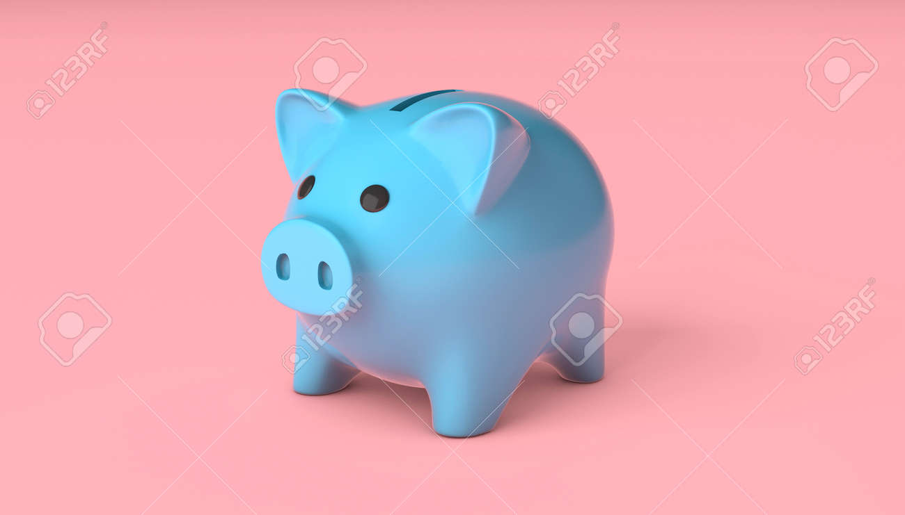 Blue piggy bank on a pink background. 3d render - 170879368