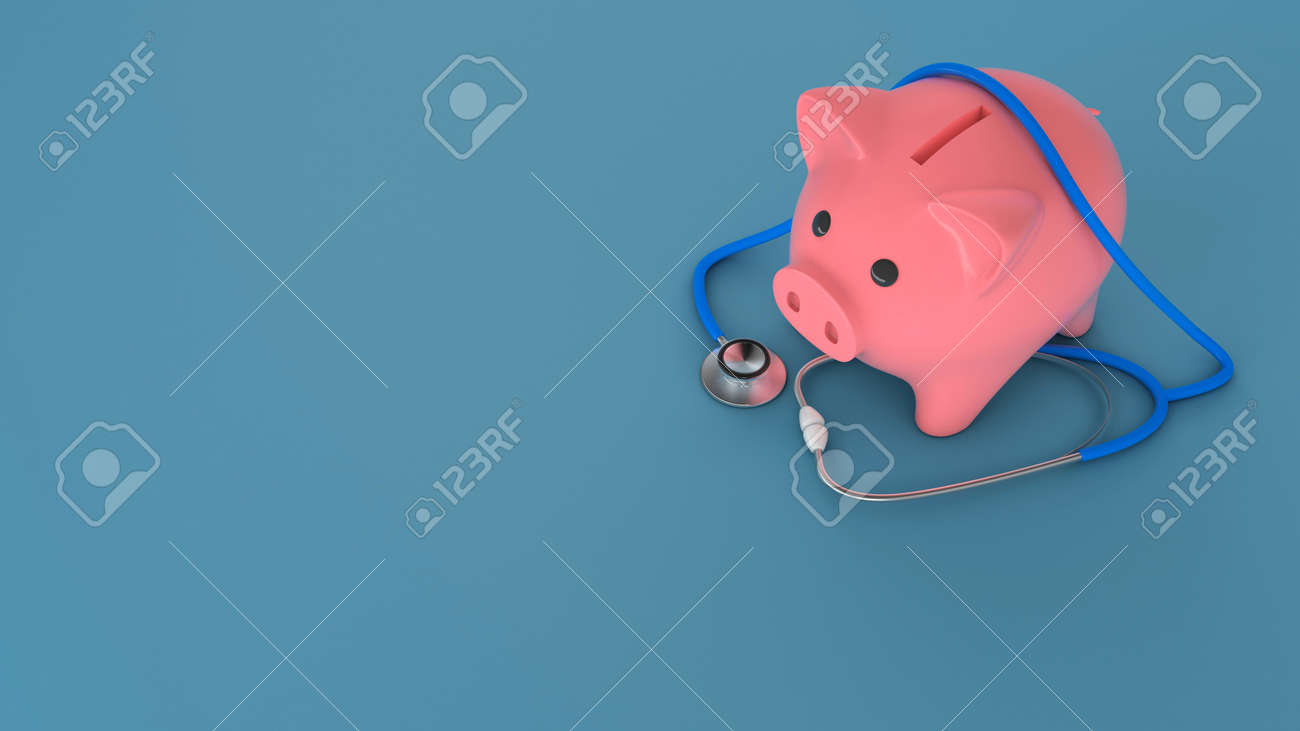 Piggy bank and stethoscope on a green background. Expensive medicine concept. Copy space for text. 3d render - 170983107