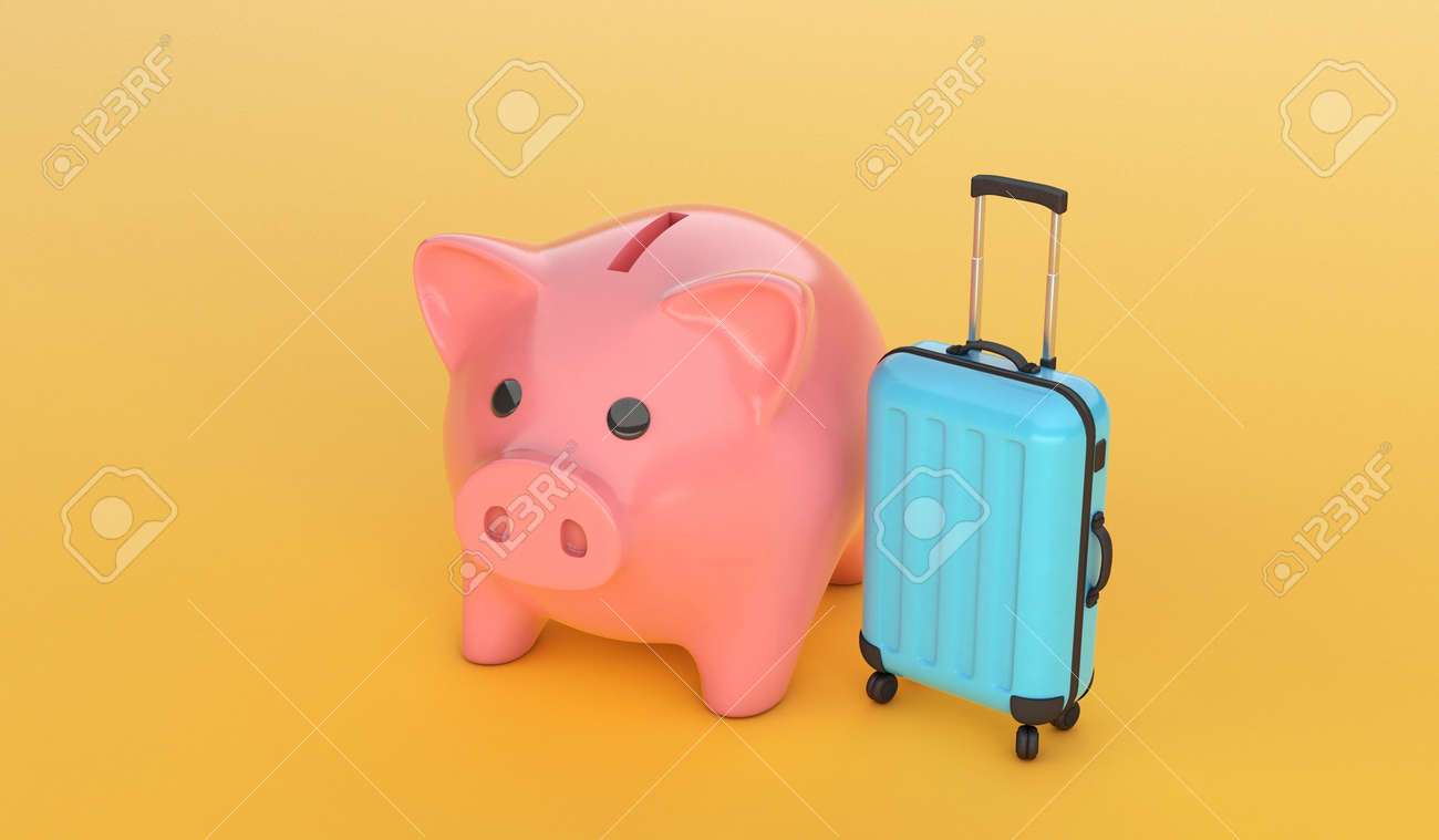 Pink piggy bank with a blue suitcase on yellow background. 3d render - 170879510