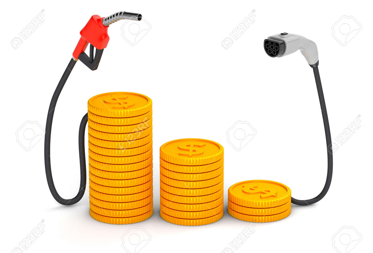 Expensive and cheap fuel. Fuel pump and plug for electric vehicles with gold coins. isolated on white background. 3d render - 170983115