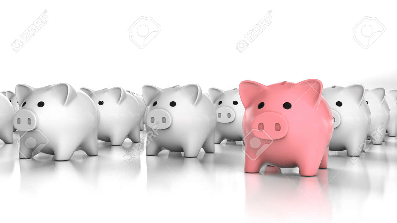 Pink piggy bank leader and many white piggy banks. Special piggy bank. 3d render - 170983116