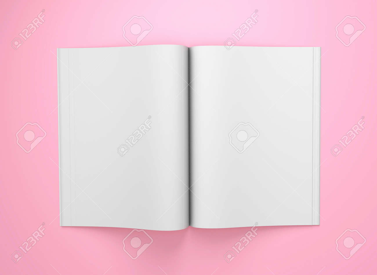 Open magazine mockup. Blank magazine template for copy space. Empty space in magazine. Pink background. 3d render - 170983120