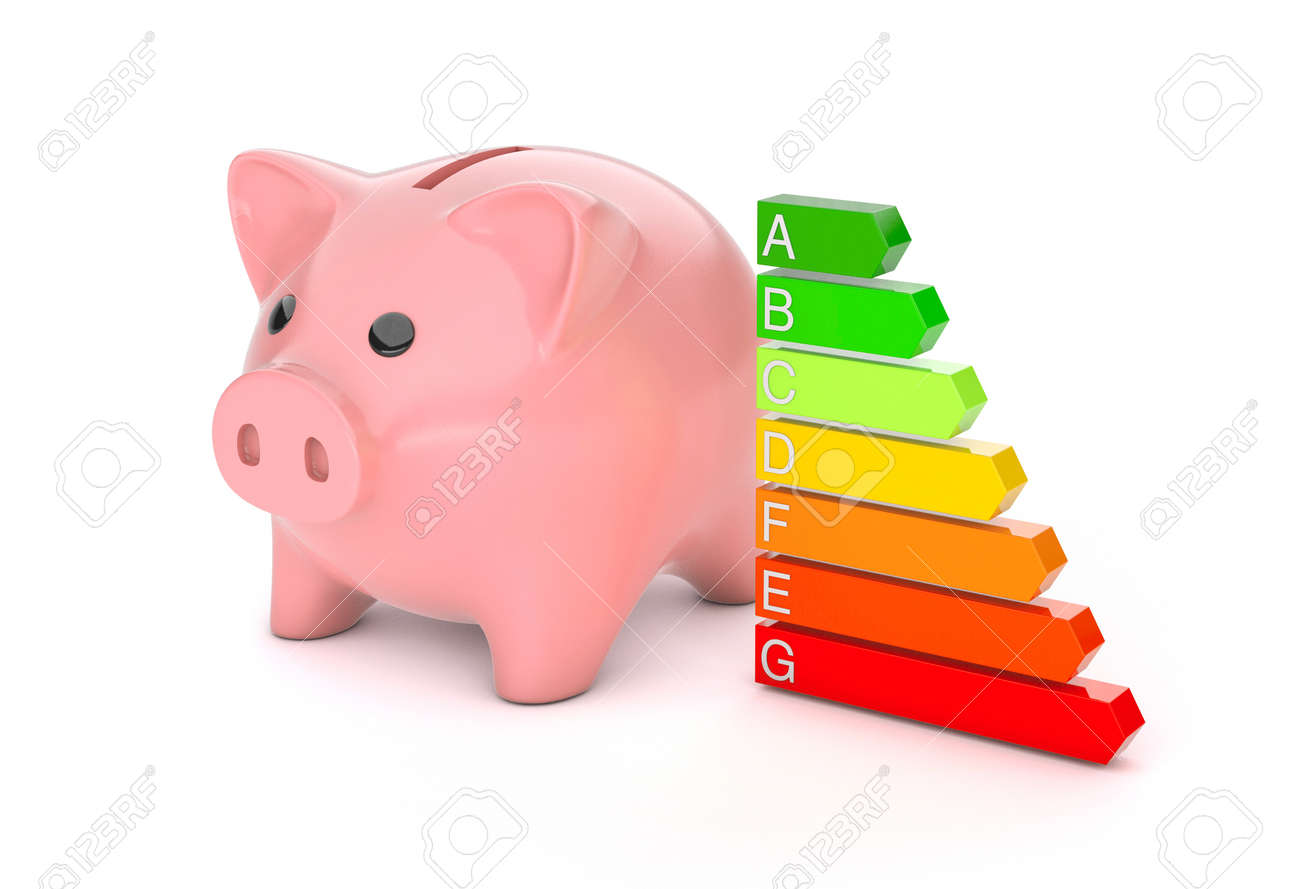 Piggy Bank and Energy Efficiency Rating. Colored arrows graph. isolated on white background. 3d render - 170983186