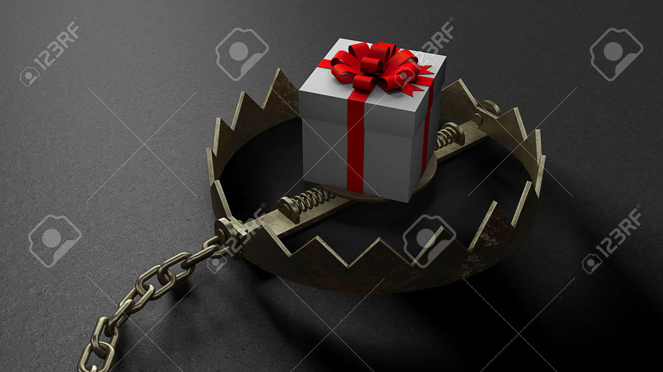 Trap with a bait in the form of gift box. 3d render - 170983191
