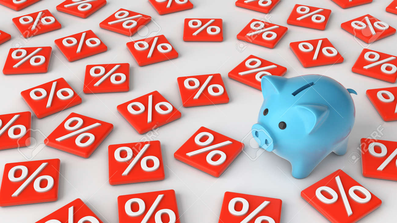Piggy bank and interest. The concept of calculating interest on savings. 3d render - 170983194