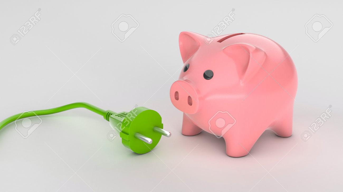 Piggy bank and green plug socket. Eco-friendly energy economical concept. 3d render - 170983195