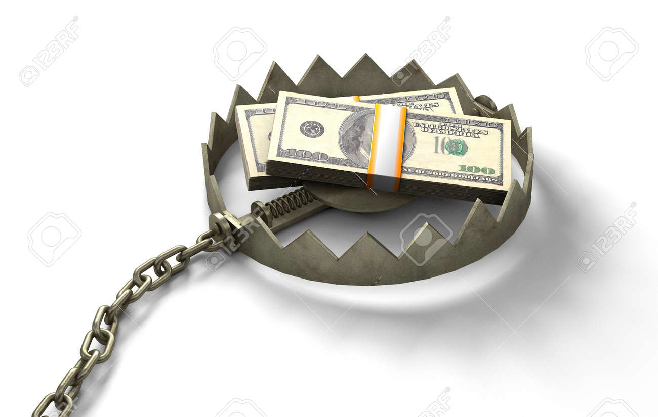 Trap with money. Pile of money as bait. isolated on white background. 3d render - 171036805