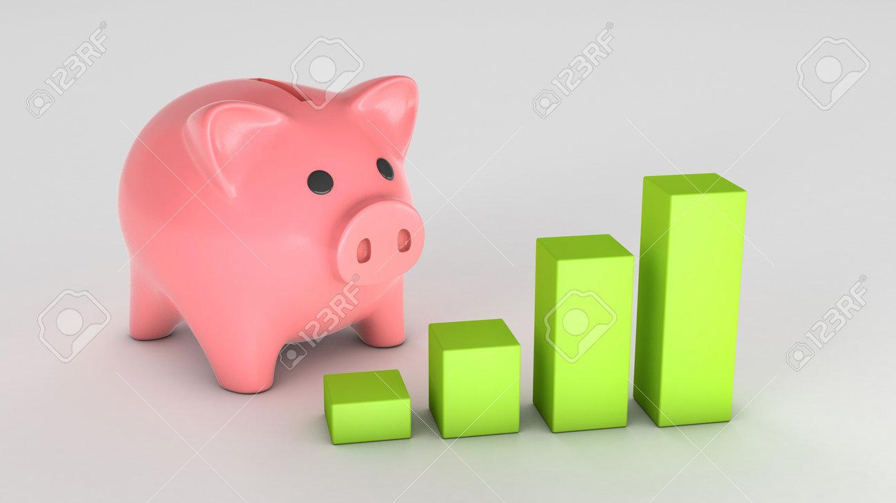 Piggy bank and graph of growth upward. 3d render - 171038678