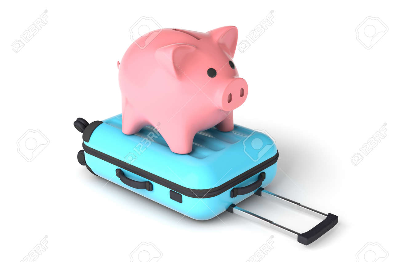 Pink piggy bank on a blue suitcase. Budget tourism. isolated on white background. 3d render - 171037031