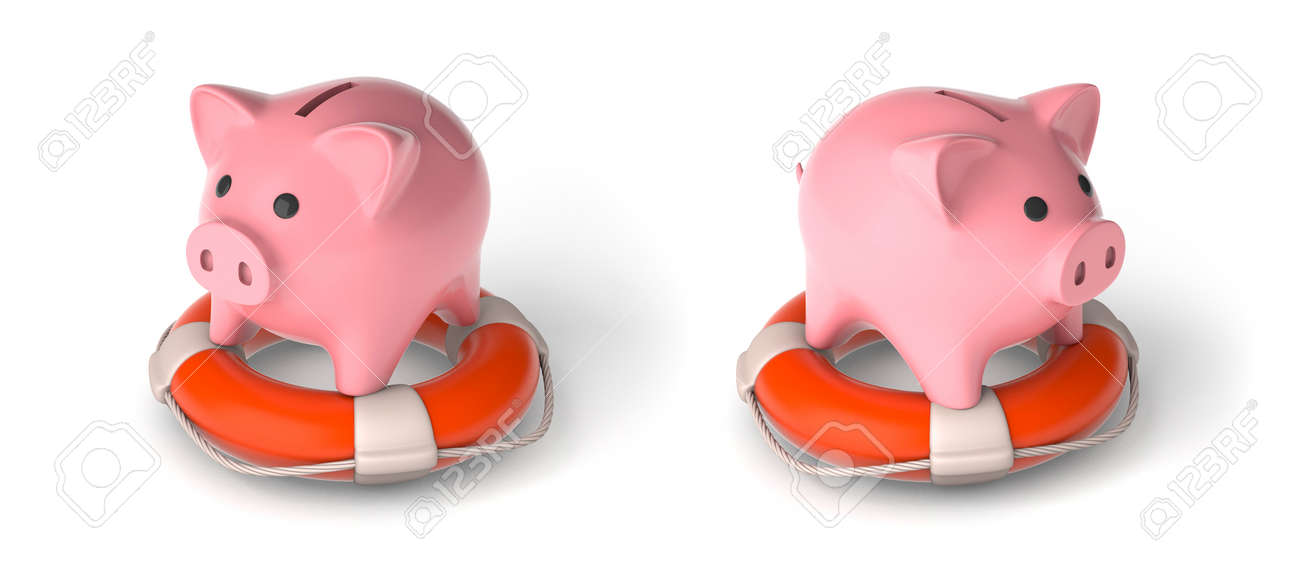 Piggy bank on a lifebuoy, set. The concept of assistance in the safety of savings. isolated on white background. 3d render - 171038706