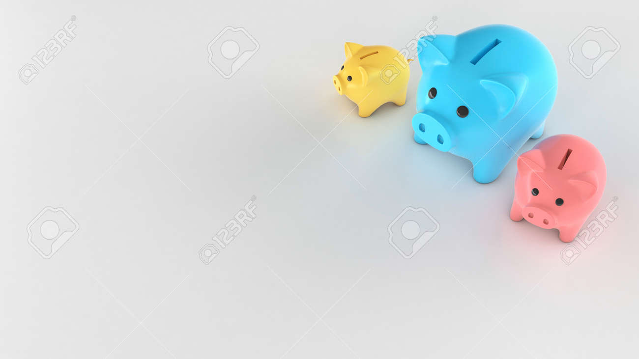 Different colored piggy banks, small and large. Copy space for text. 3d render - 171038708