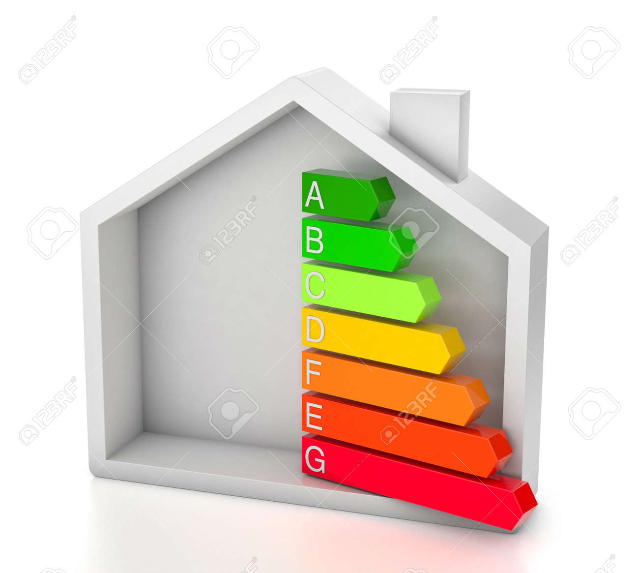 Home energy efficiency rating. House and colored arrows graphics. isolated on white background. 3d render - 171484095