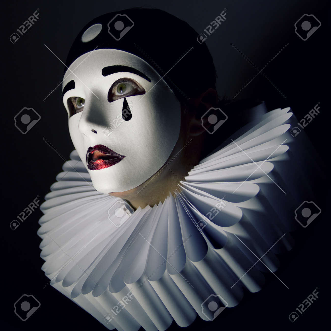 Girl With Mask Pierrot Stock P...