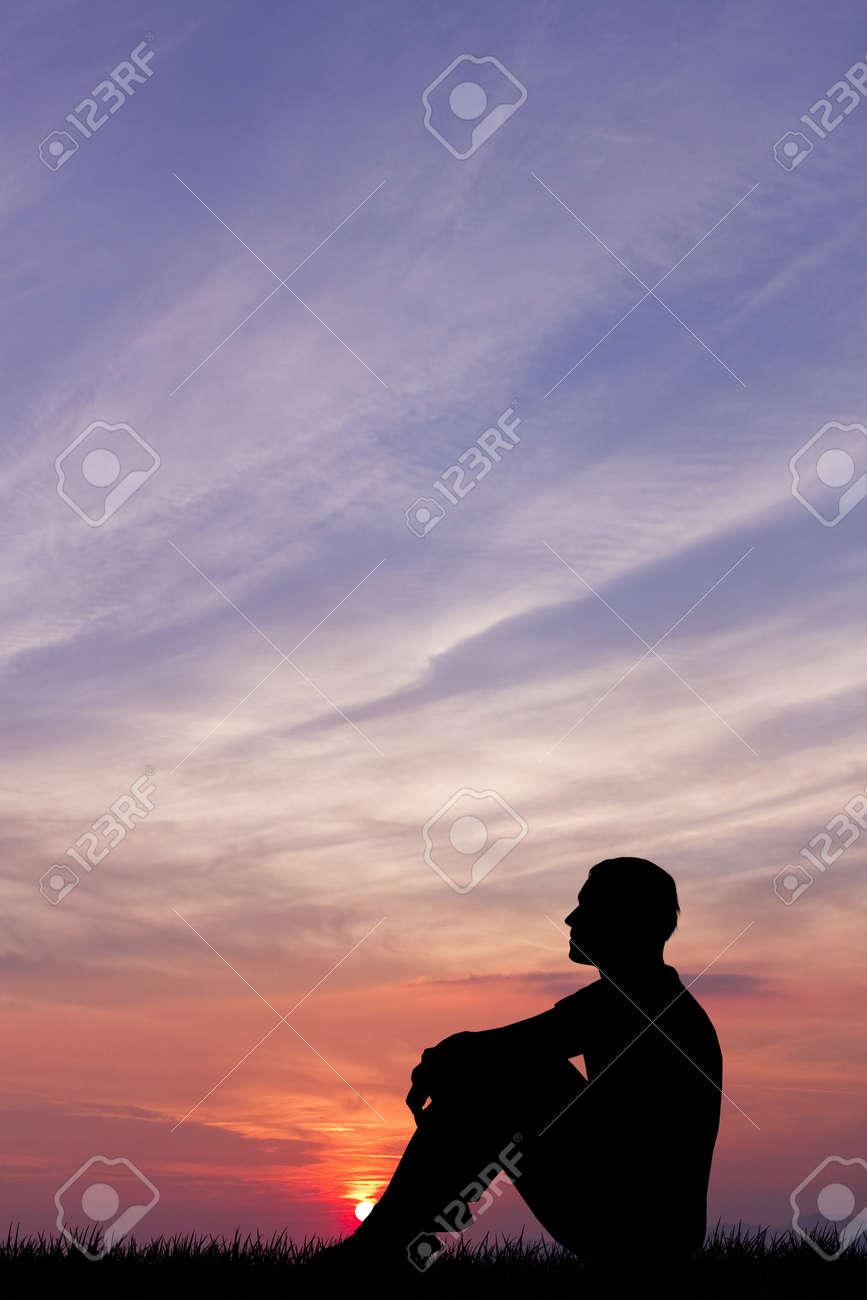 man at sunset Stock Photo - 15695289
