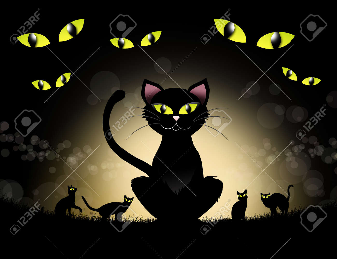 Black Cat Of Halloween Stock Photo, Picture And Royalty Free Image ...