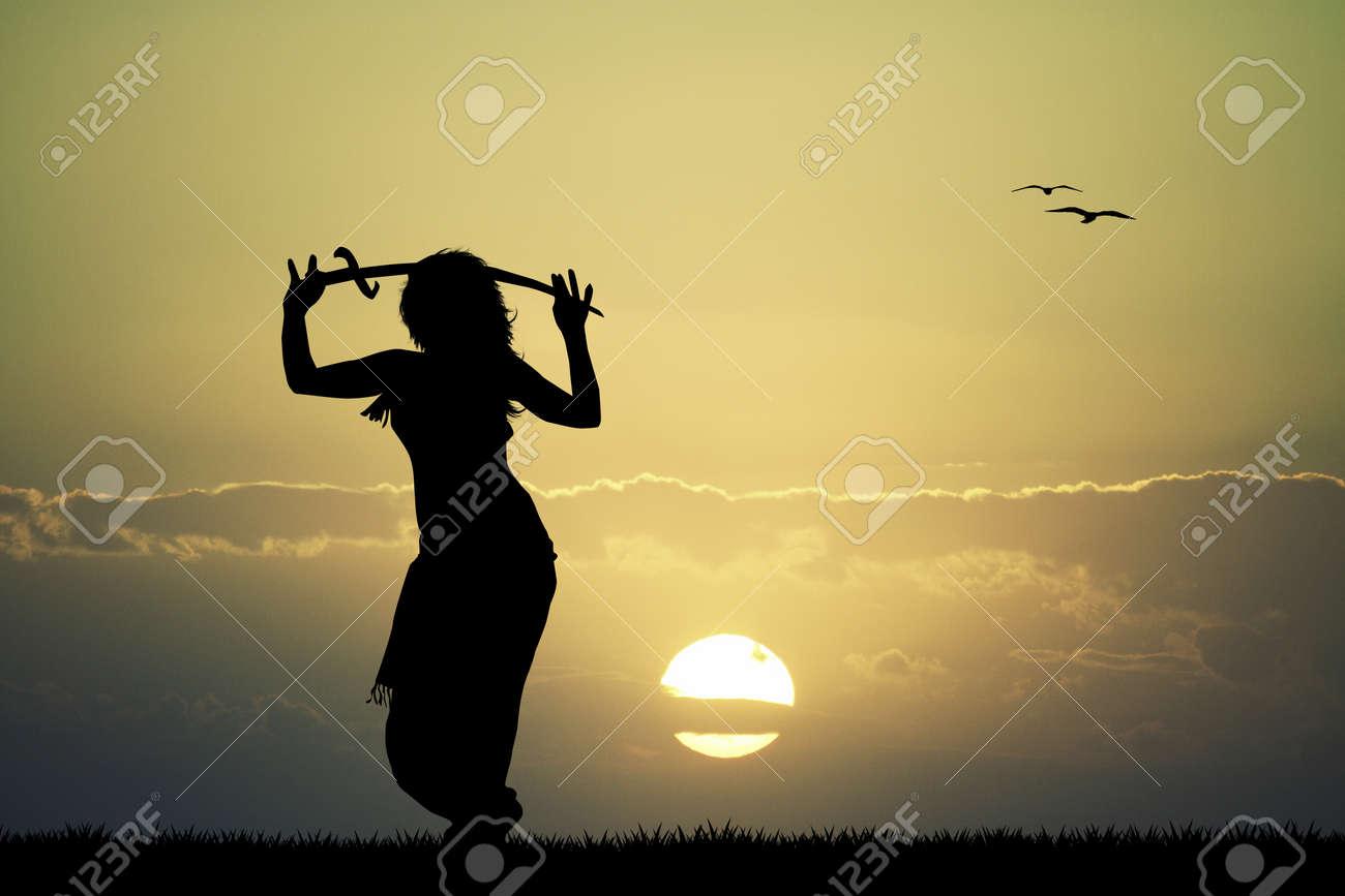 sword bellydance at sunset - 31043402