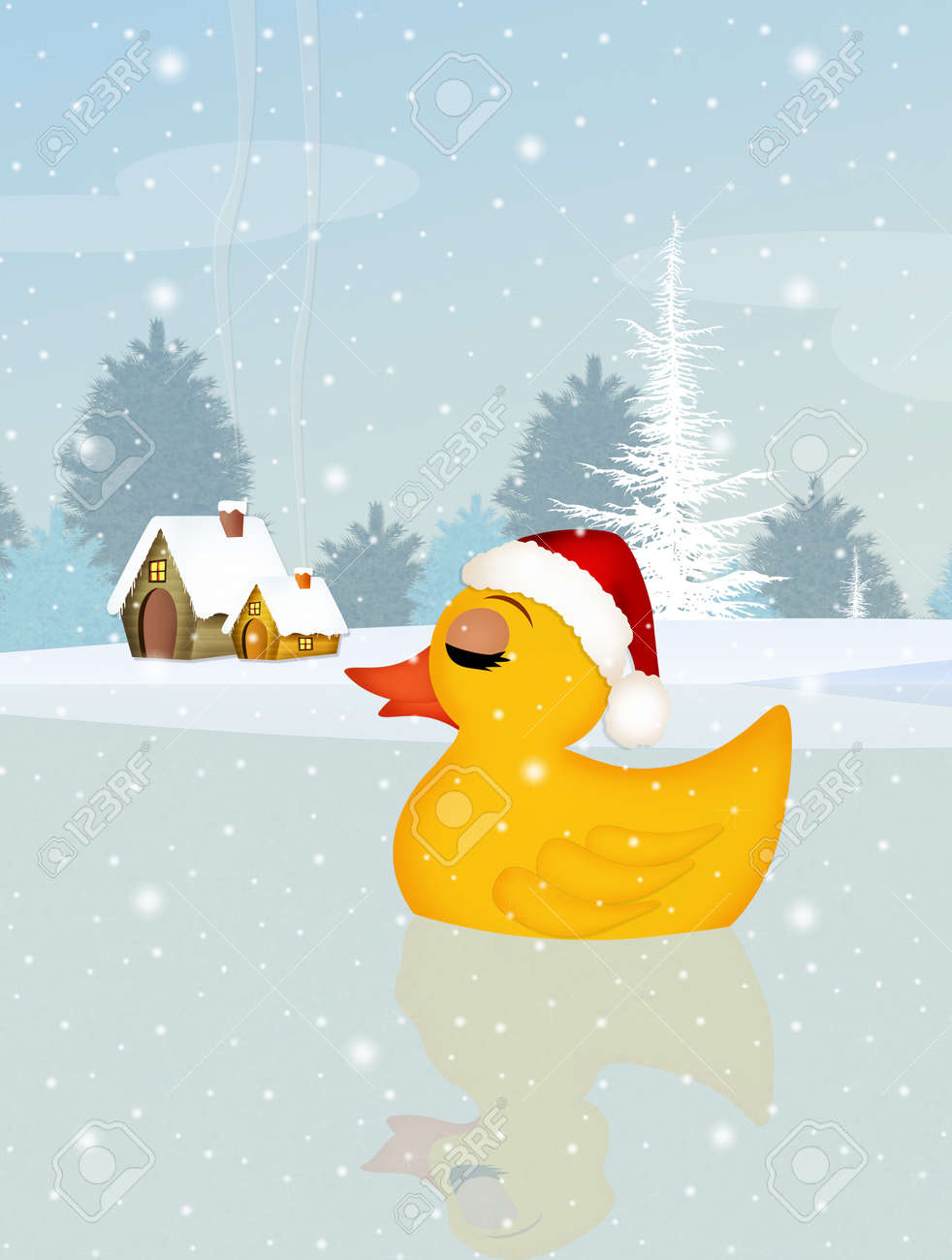 Christmas Duck.Duck With Christmas Hat