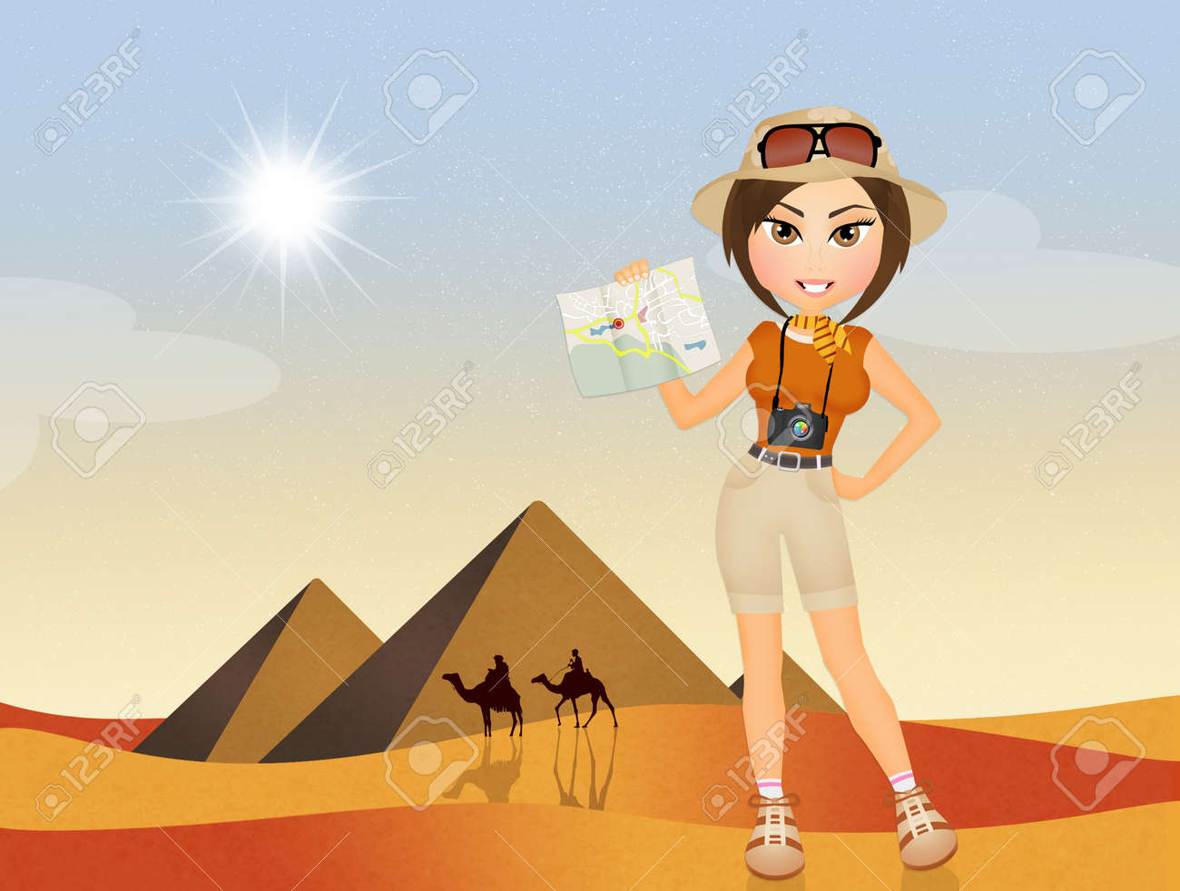 Tourist In Visiting And Image Photo 65808349 Royalty Image Free Egypt Stock Girl Pyramids Picture The