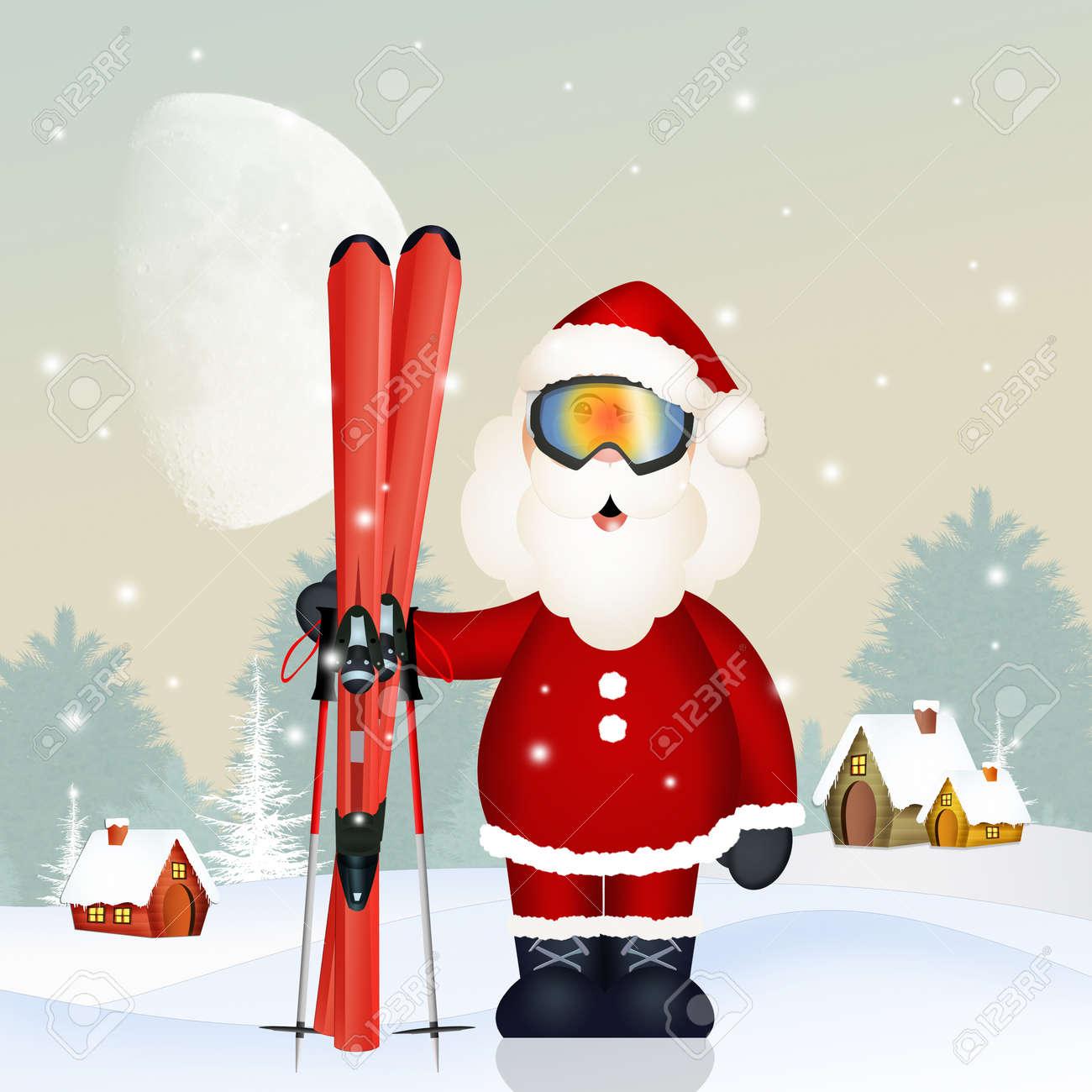 Image Pere Noel En Ski.Santa Claus With Ski