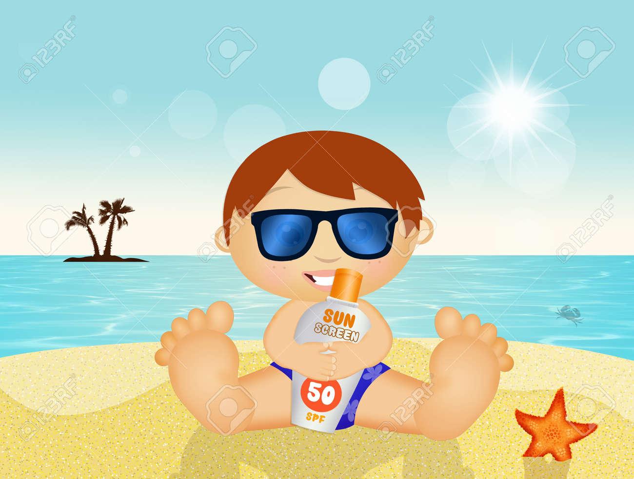 Enfant avec protection solaire élevée