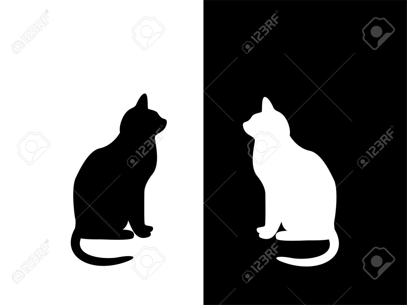 black and white cat characters black and white cat on black and white background. concept ()..