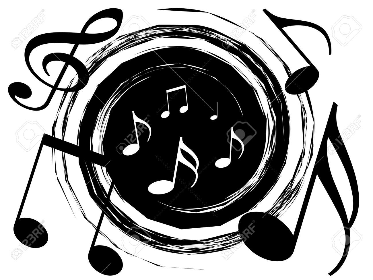 music theme background with vortex of musical notes stock photo