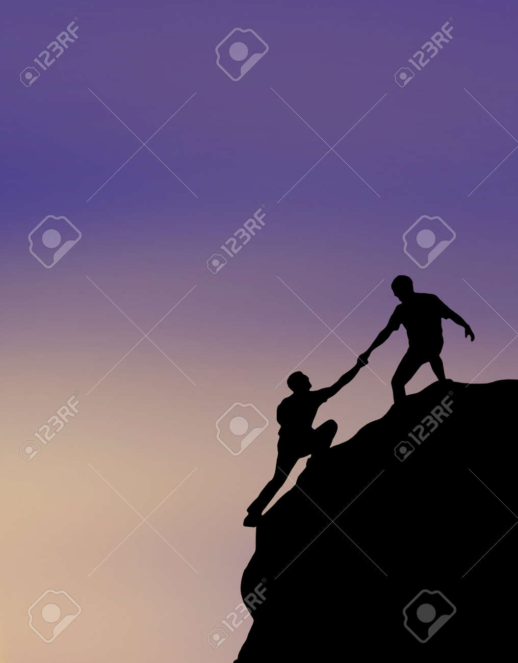 Hikers climbing on rock, giving hand and helping to climb - 158487125