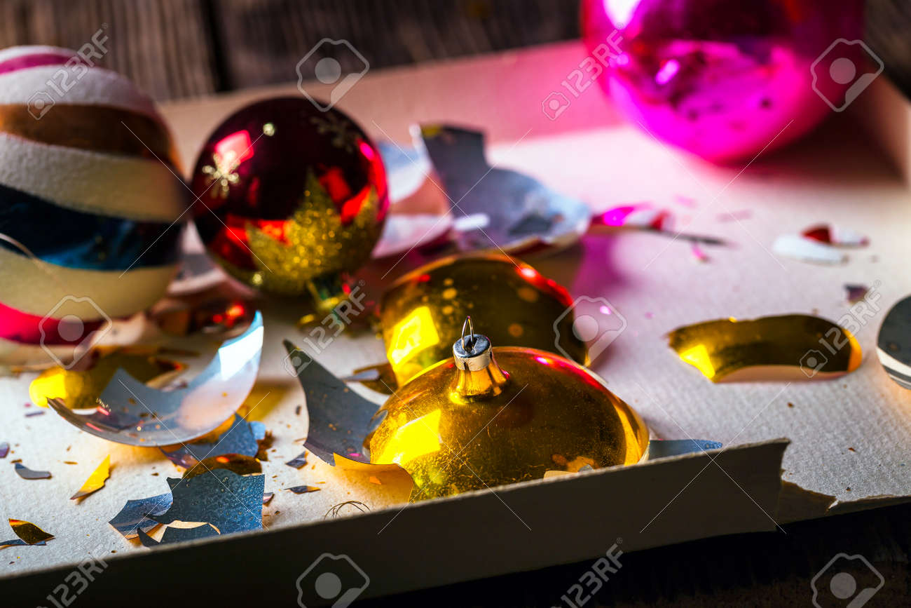 Broken Old Vintage Christmas Balls On Wooden Table Christmas