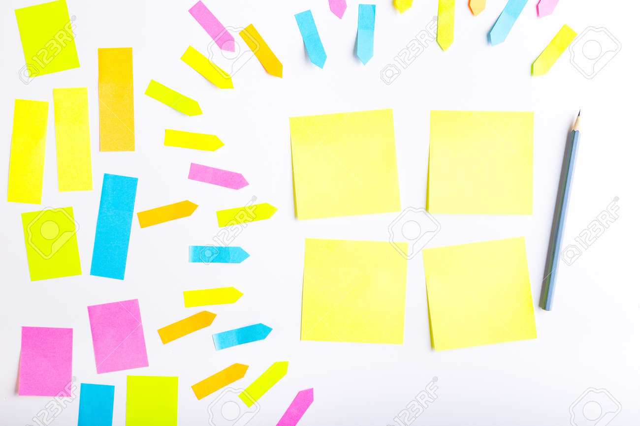 blank sticky notes with different colors and shapes stock photo