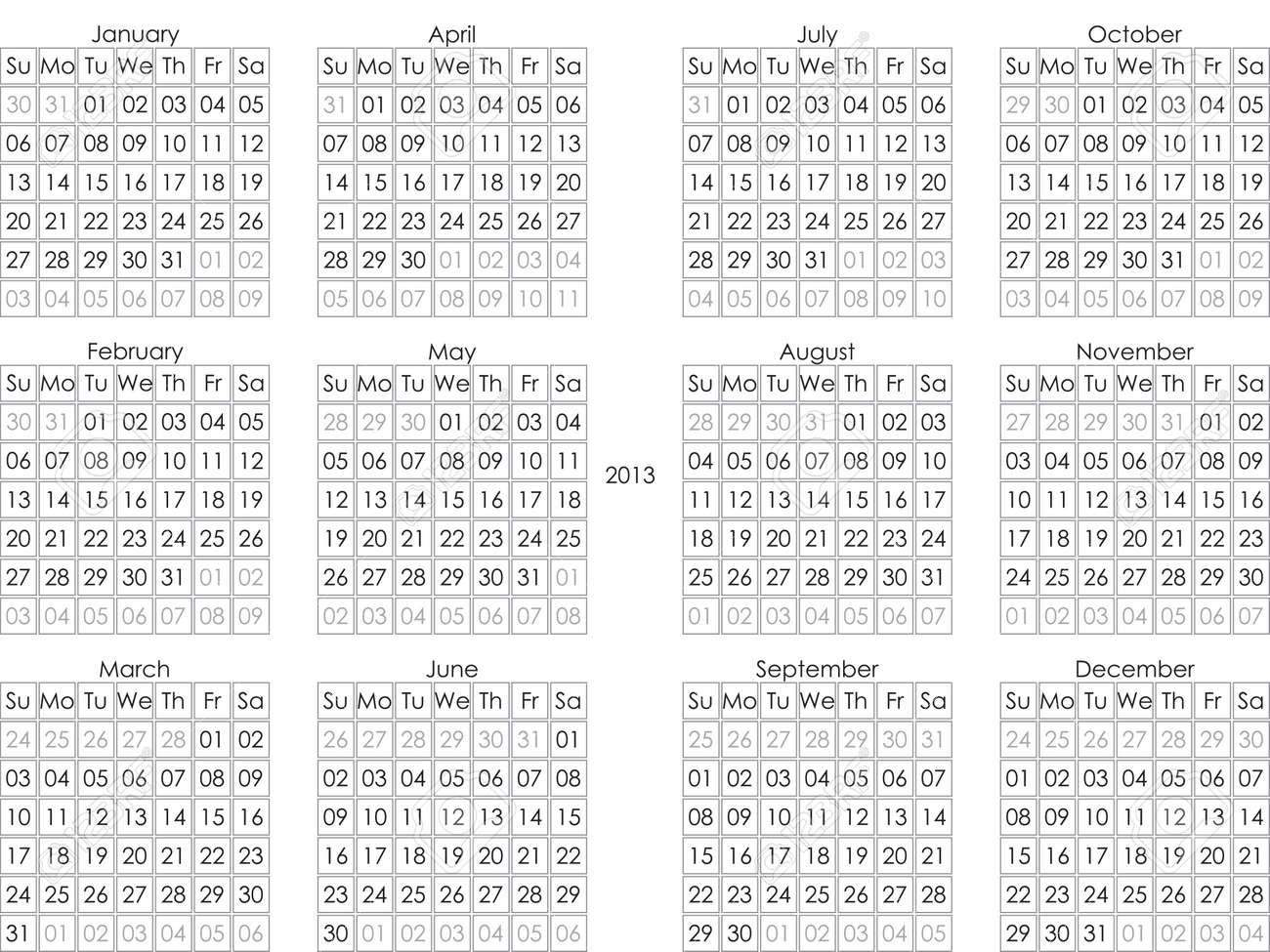 2013 Calendar Black Letters onTransparency Landskape Oriented Stock Vector - 17005898