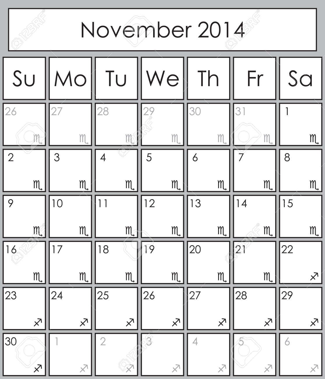 Planner November 2014 with zodiac signs Scorpio &, Sagittarius