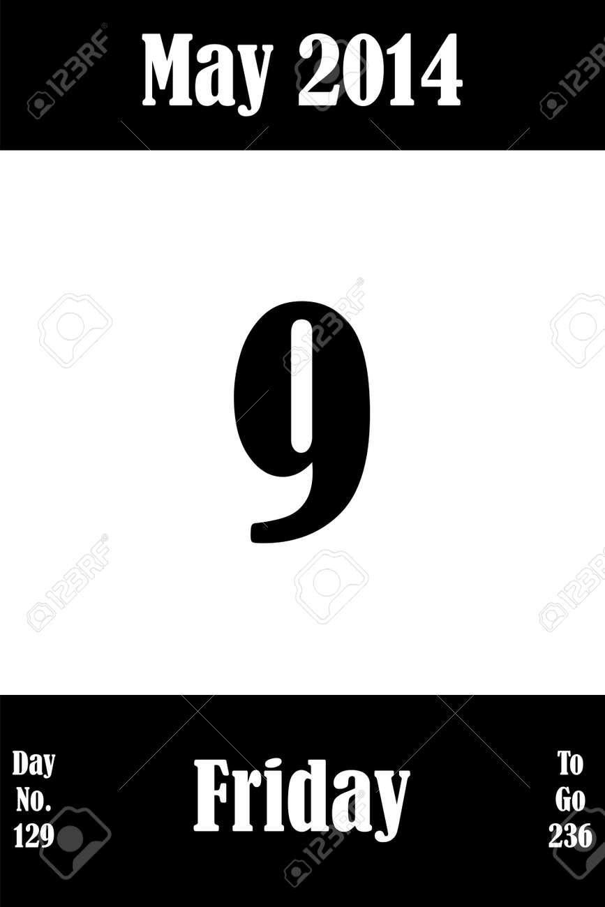 Calendario Con Numero Giorni.9 Maggio 2014 Pagina Del Calendario Con Il Numero Del Giorno E Giorni Per Andare