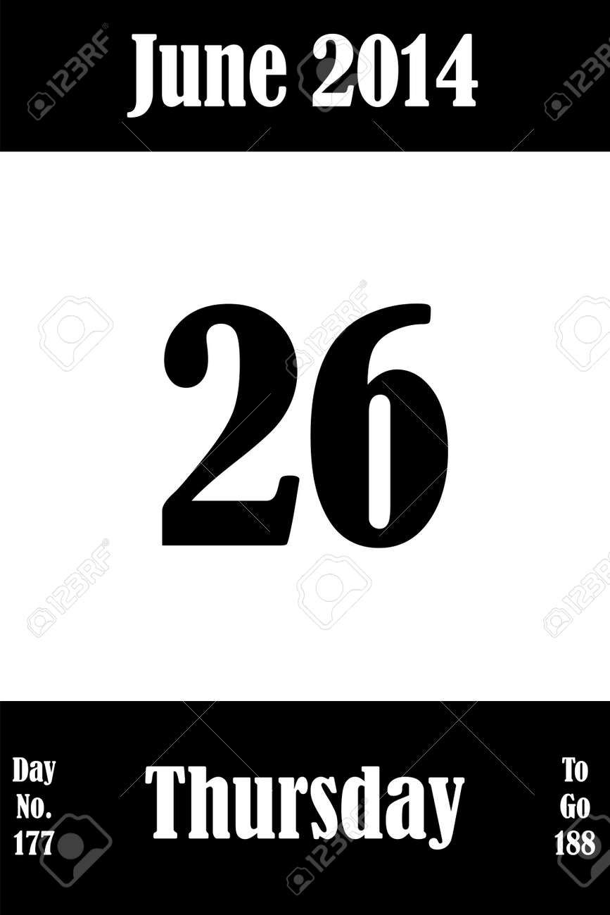 26 June 2014 Calendar Page with number of the day and days to go Stock Vector - 21345567