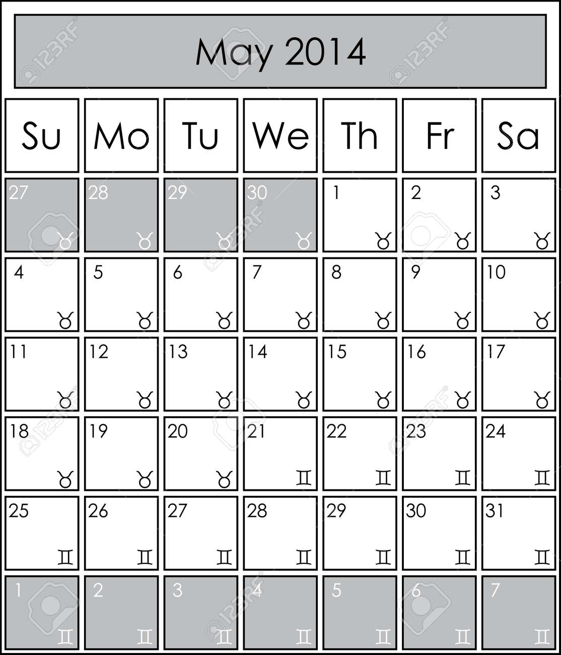 2014 Calendar Monthly May With Zodiac Signs Royalty Free Cliparts