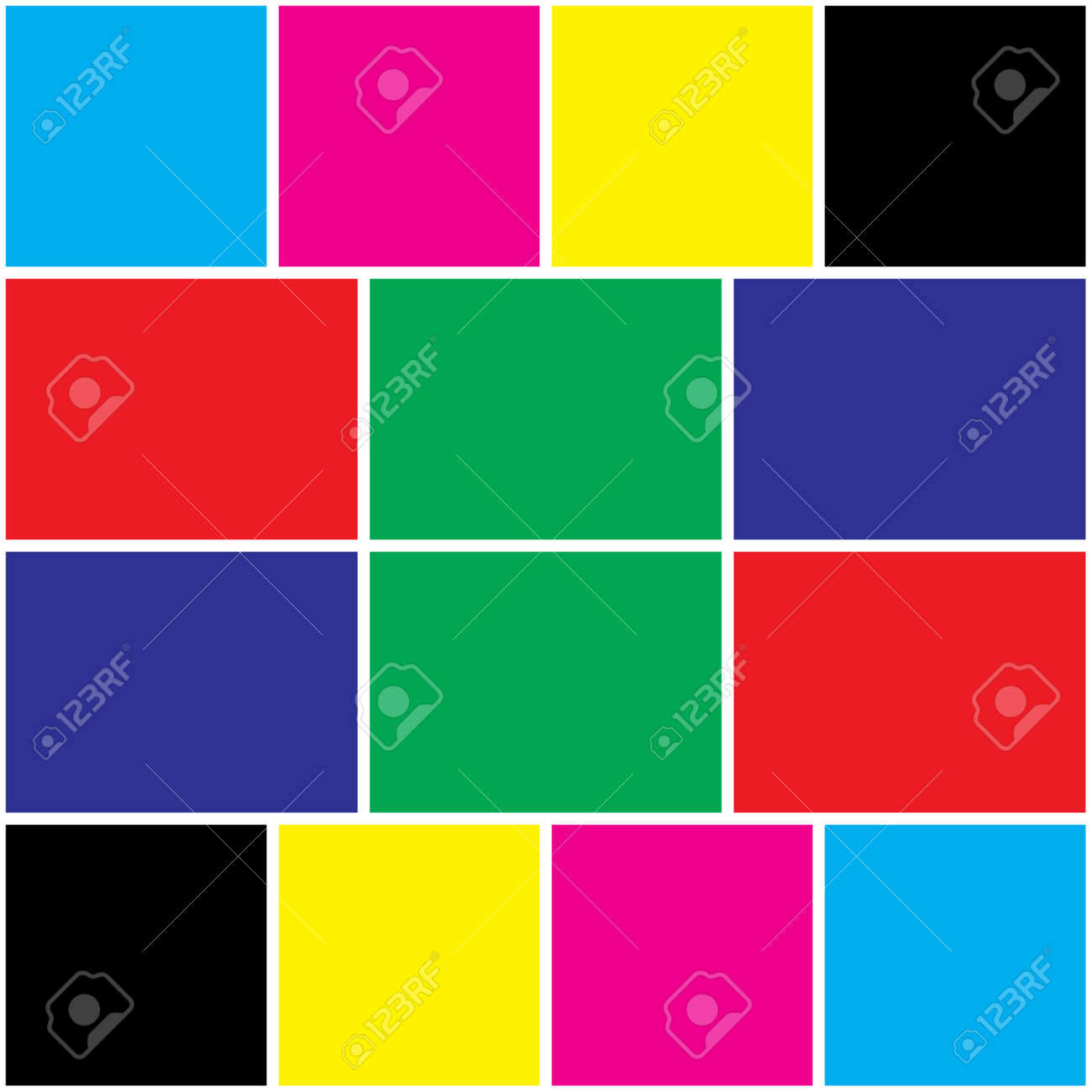 cyan magenta yellow black and red green blue colors swatches