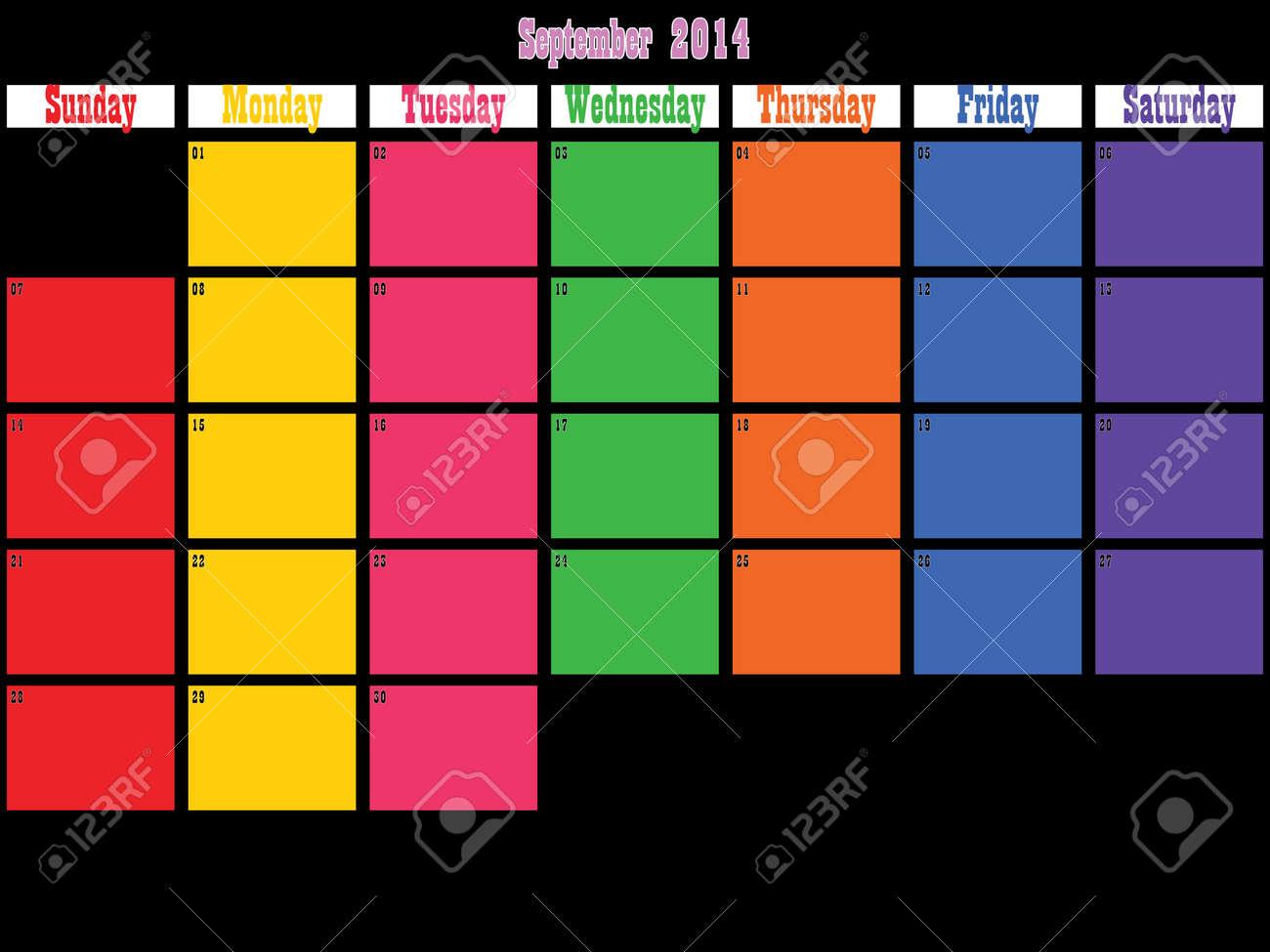 09 2014 Grandes Espacios Días De Color Negro Sobre Planificador ...