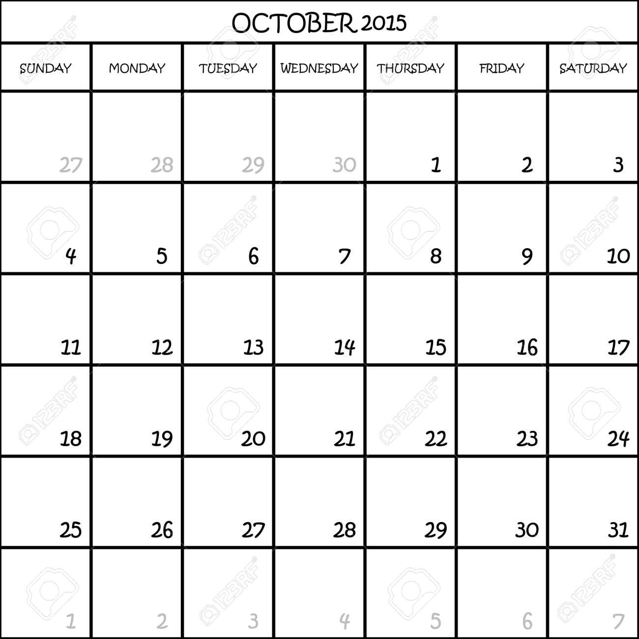 OCTOBER 2015 CALENDAR PLANNER MONTH ON TRANSPARENT BACKGROUND ...