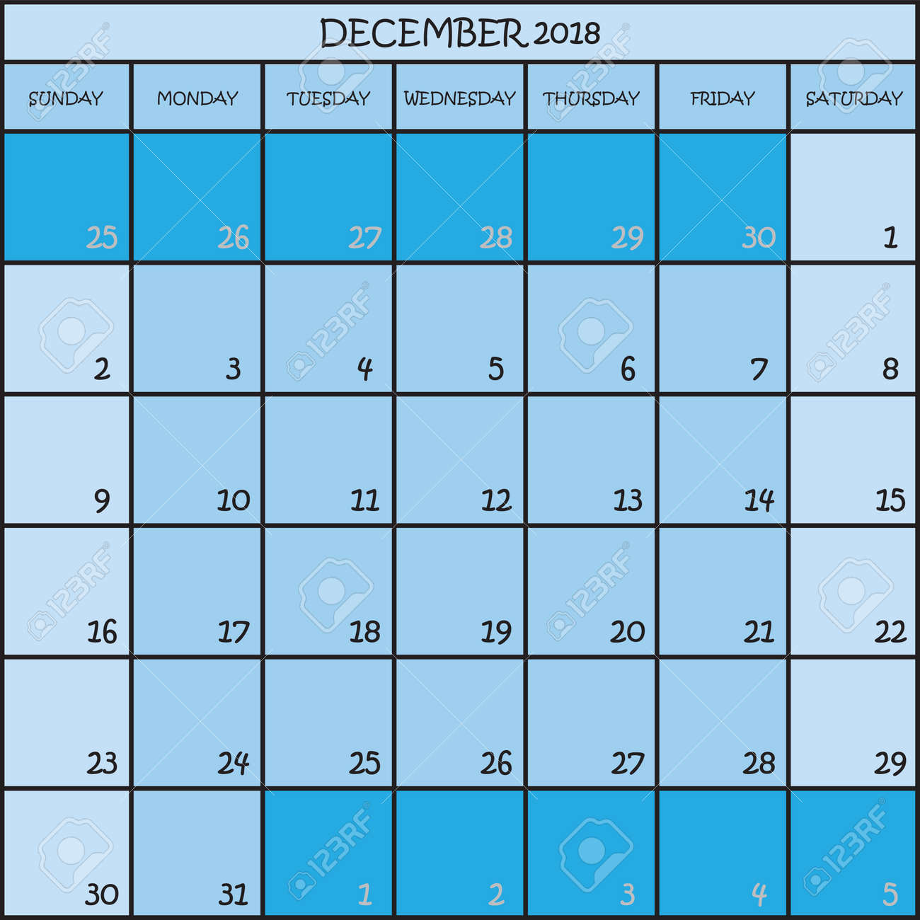 calendar planner month december 2018 on three shades of blue color background stock vector 94413795
