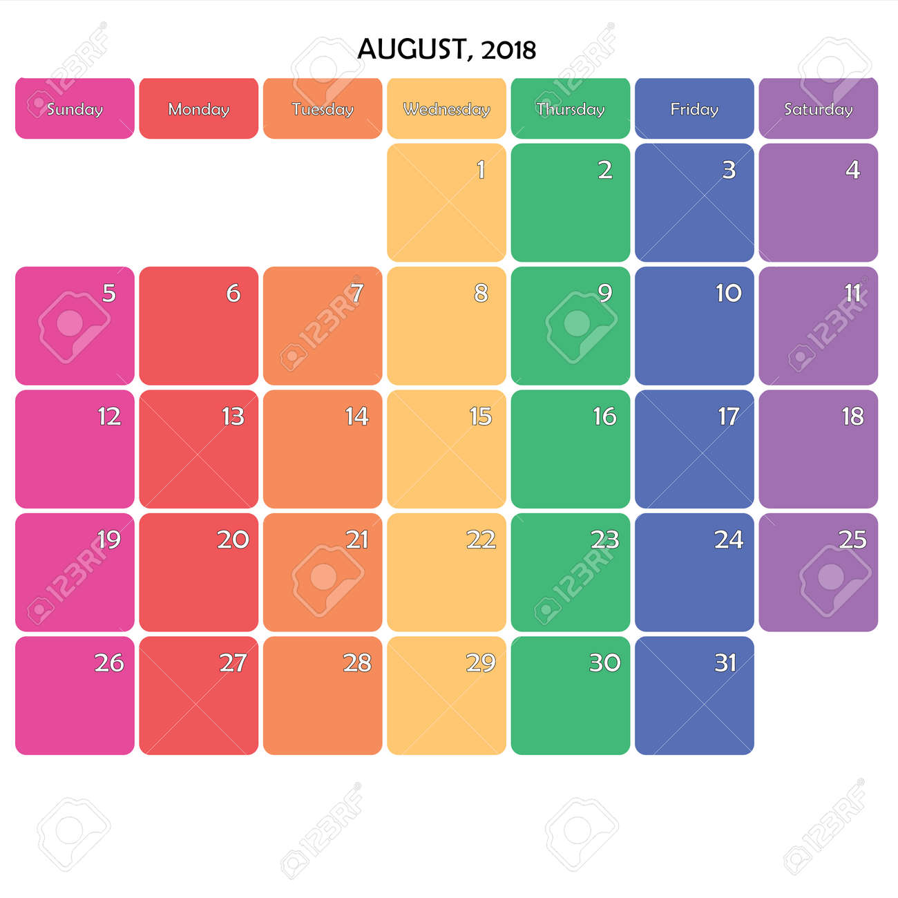 august 2018 planner calendar big editable note space specific color day on white background stock vector