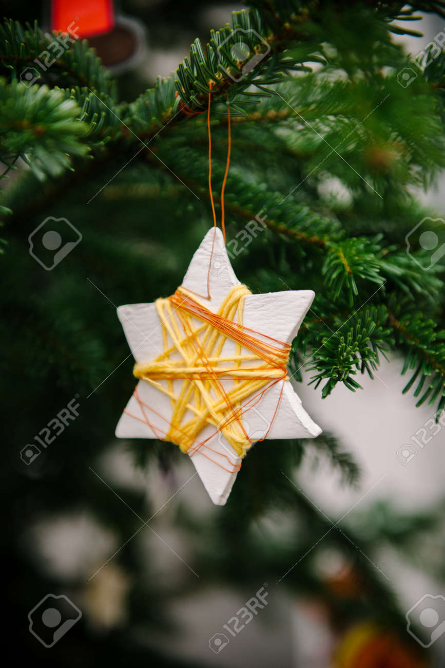 Traditional Hand Crafted Christmas Star Ornament Made From Recycled