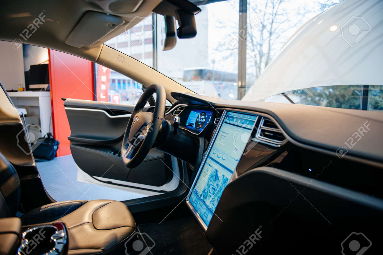 PARIS, FRANCE - NOVEMBER 29: The Interior Of A Tesla Motors Inc ...