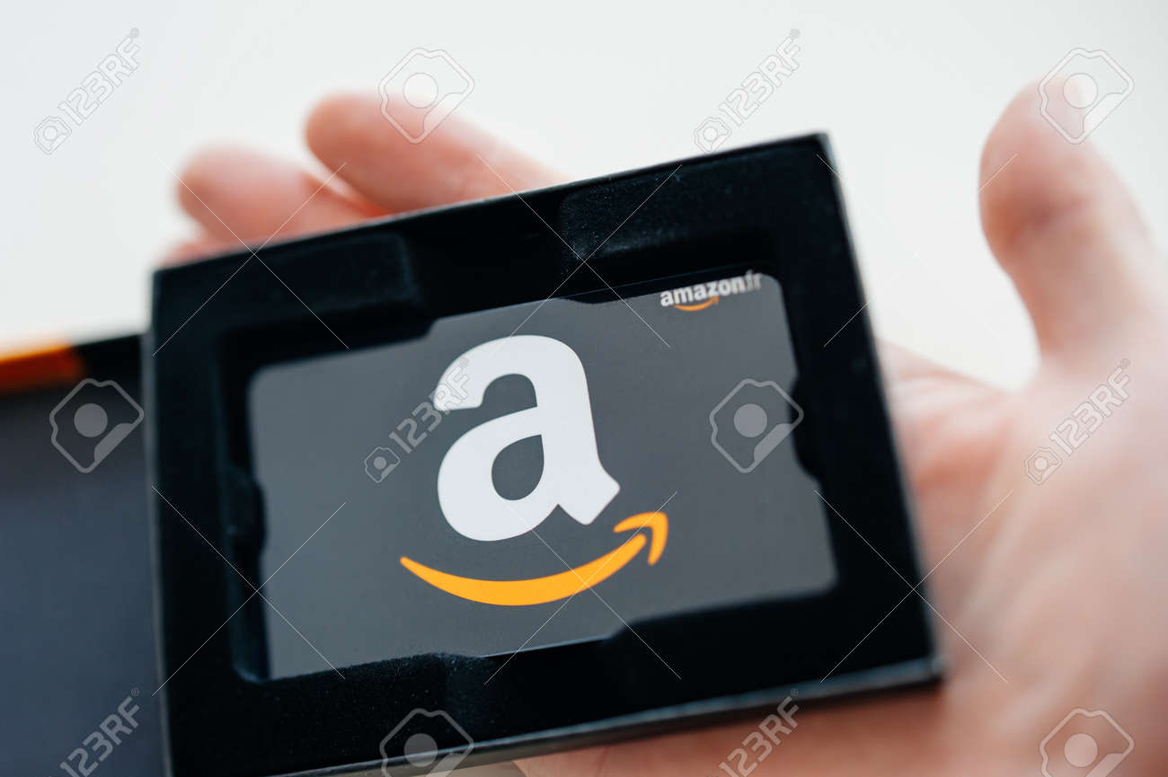 London United Kingdom Close Up Of Amazon Gift Card In Beautiful